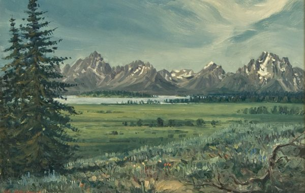 """The Grand Tetons from Willow Flats"""