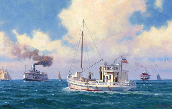 """ 'F. D. Crockett' and Steamer 'Piankatank' off Stingray Point  CIRCA 1930 – CHESAPEAKE BAY"""
