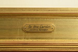 """Hand-lettered nameplate for """"In the Garden""""."""
